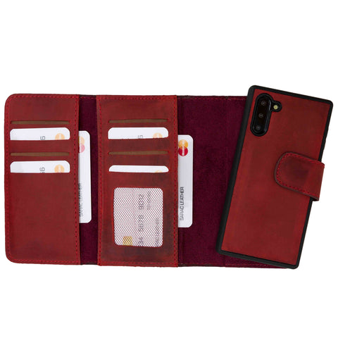 Santa Magnetic Detachable Leather Tri-Fold Wallet Case for Samsung Galaxy Note 10 - RED - saracleather