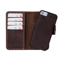 "Adel Magnetic Detachable Leather Wallet Case for iPhone SE 2020 / 8 / 7 (4.7"") - BROWN - saracleather"