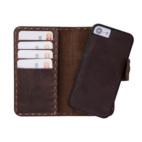 Adel Magnetic Detachable Leather Wallet Case for iPhone 8 / 7 - BROWN
