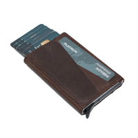 Torres RFID Blocker Mechanism Pop Up Leather Business / Credit Card Holder - BROWN - saracleather