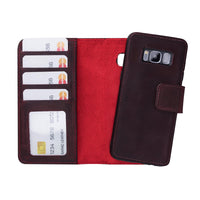 Liluri Magnetic Detachable Leather Wallet Case for Samsung Galaxy S8 - RED
