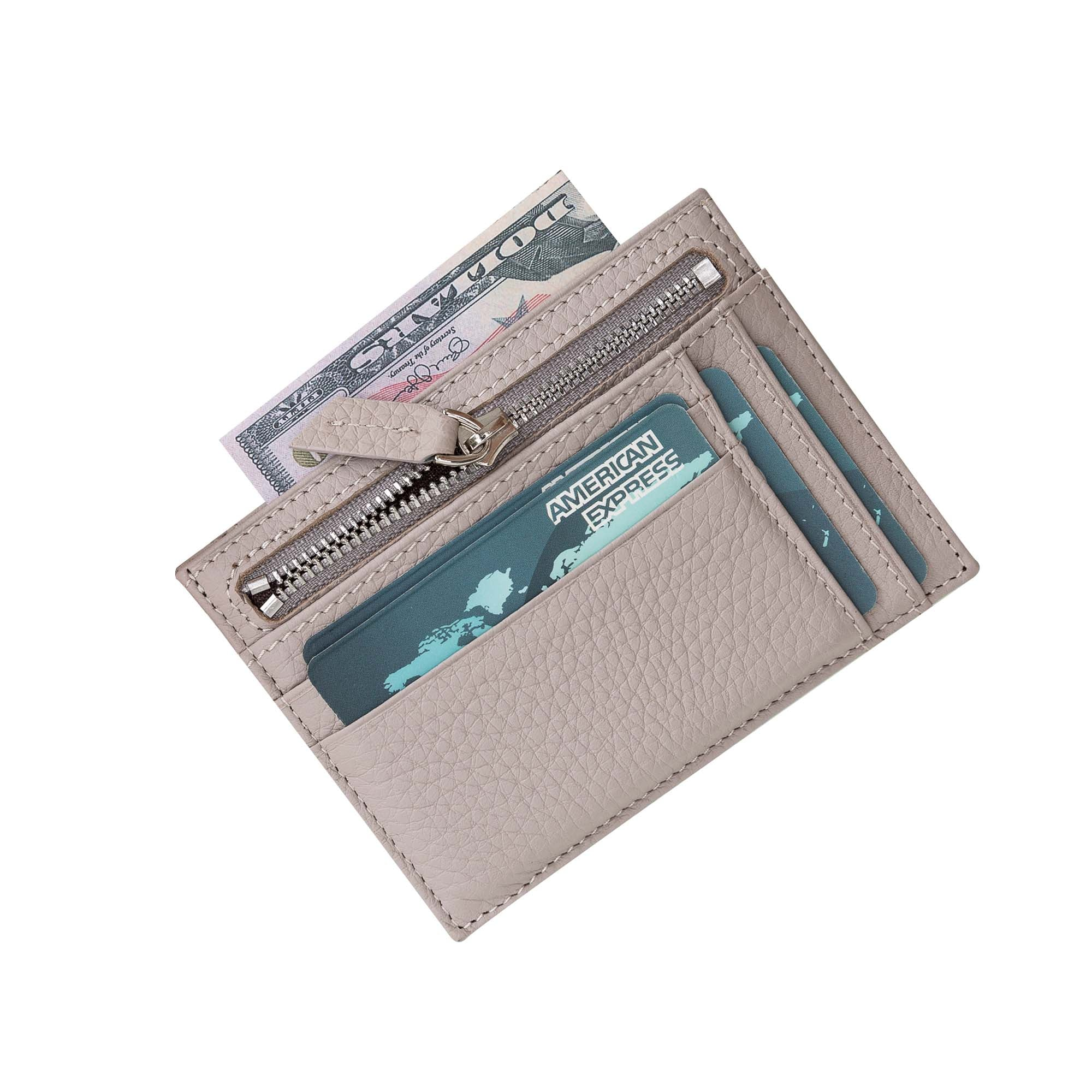 Slim Zipper Leather Wallet - GRAY
