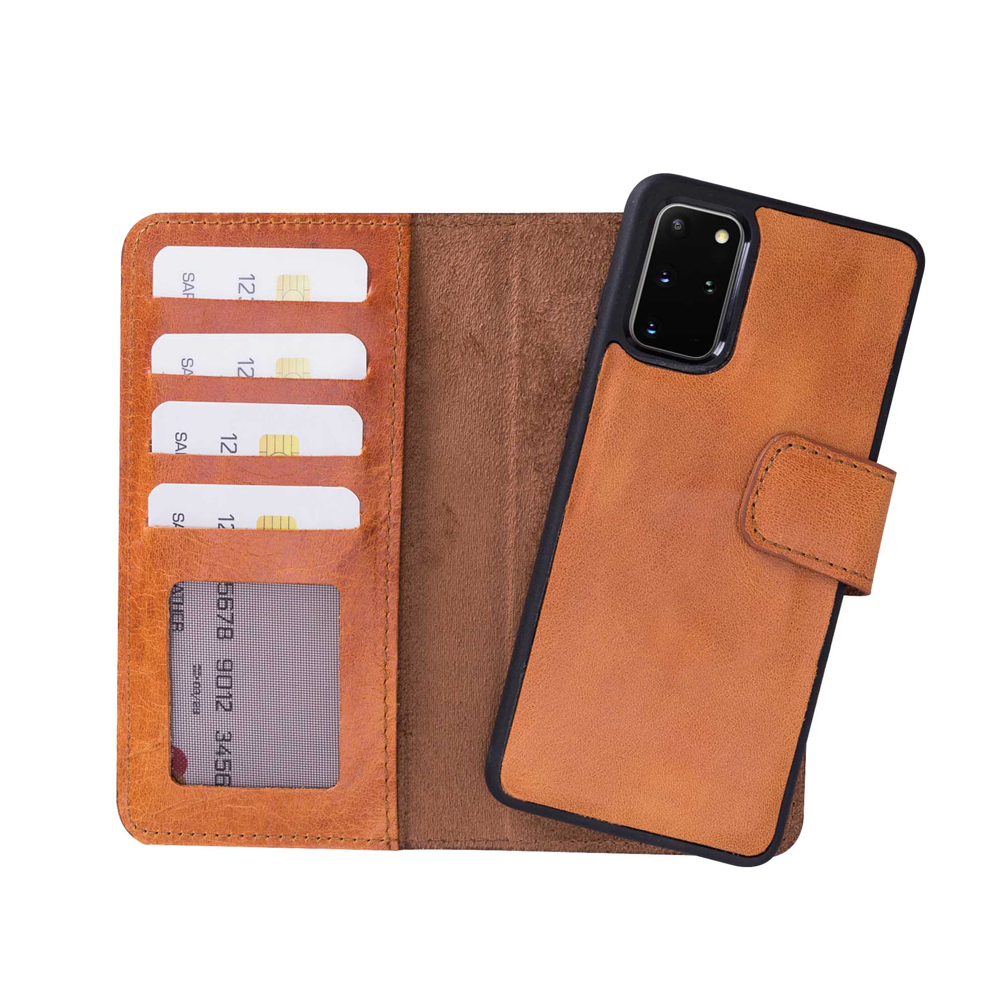 "Liluri Magnetic Detachable Leather Wallet Case for Samsung Galaxy S20 Plus (6.7"") - TAN"