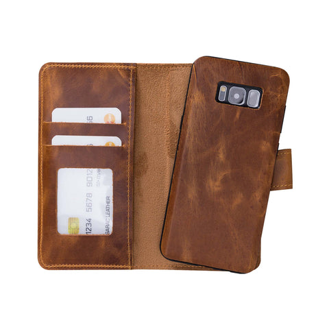 Liluri Magnetic Detachable Leather Wallet Case for Samsung Galaxy S8 Plus - TAN