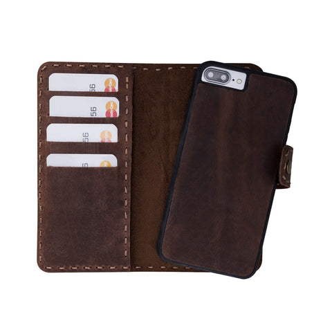 Adel Magnetic Detachable Leather Wallet Case for iPhone 8 / 7 Plus - BROWN