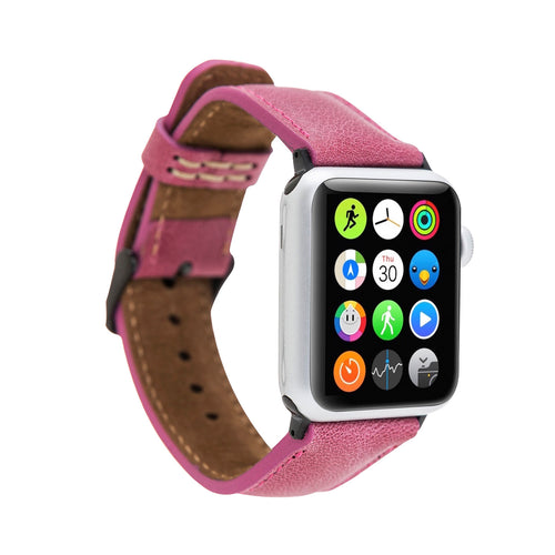Full Grain Leather Band for Apple Watch 38mm / 40mm - FUCHSIA - saracleather
