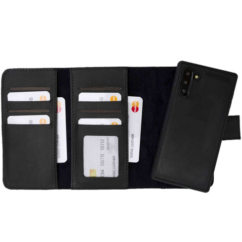 Santa Magnetic Detachable Leather Tri-Fold Wallet Case for Samsung Galaxy Note 10 - BLACK - saracleather