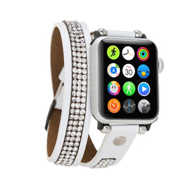 Ferro Double Tour Strap: Full Grain Leather Band for Apple Watch 38mm / 40mm - WHITE