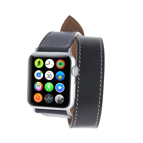 Double Tour Strap: Full Grain Leather Band for Apple Watch 38mm / 40mm - BLACK - saracleather