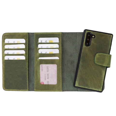 Santa Magnetic Detachable Leather Tri-Fold Wallet Case for Samsung Galaxy Note 10 - GREEN - saracleather