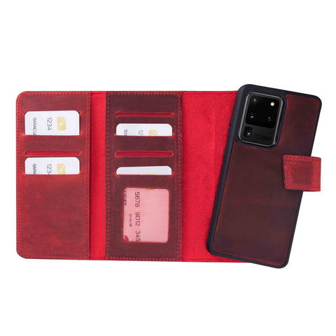 "Santa Magnetic Detachable Leather Tri-Fold Wallet Case for Samsung Galaxy S20 Ultra (6.9"") - RED - saracleather"