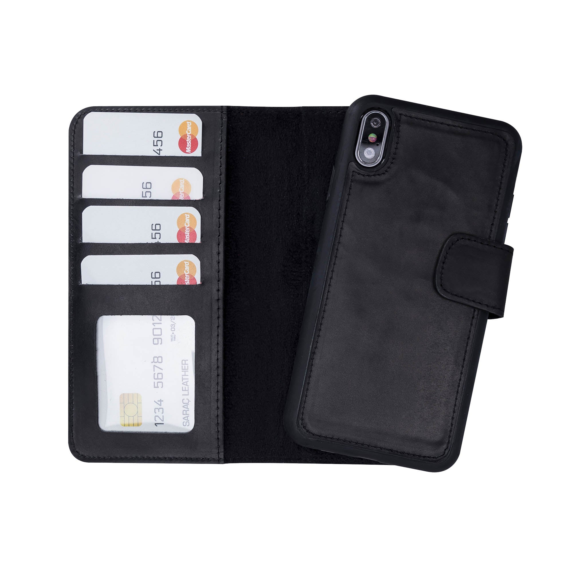 "Liluri Magnetic Detachable Leather Wallet Case for iPhone X / XS (5.8"") - BLACK"
