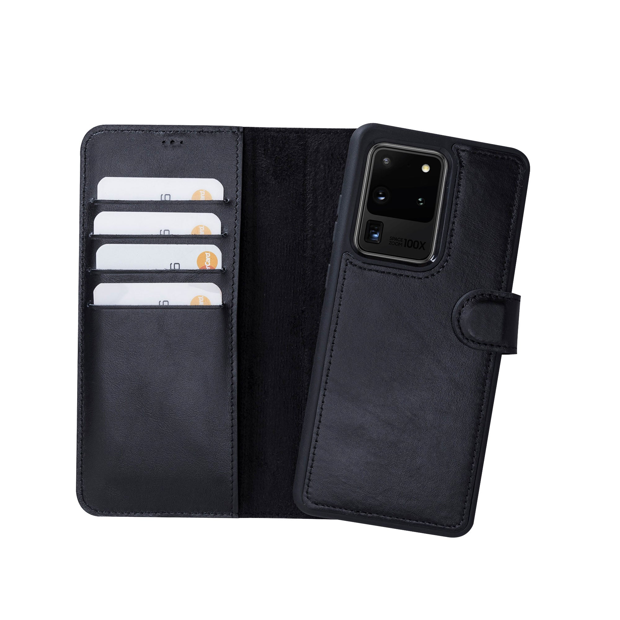 "Magic Magnetic Detachable Leather Wallet Case for Samsung Galaxy S20 Ultra (6.9"") - BLACK - saracleather"