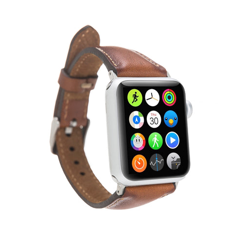 Slim Strap - Full Grain Leather Band for Apple Watch 38mm / 40mm - EFFECT BROWN