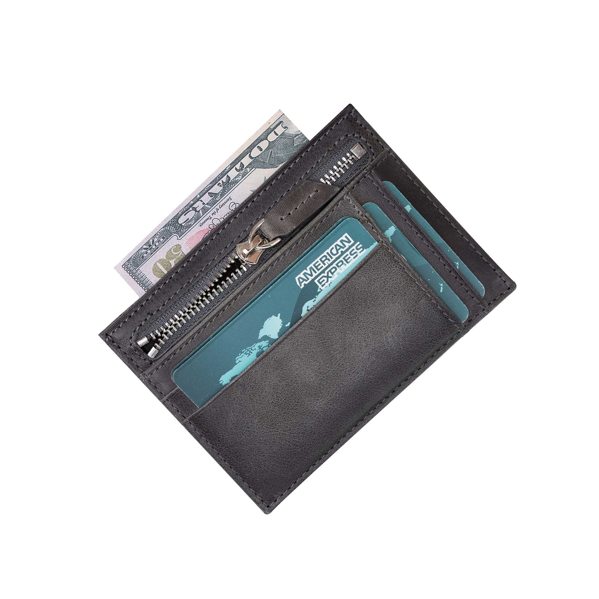 Slim Zipper Leather Wallet - EFFECT GRAY