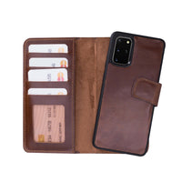 "Liluri Magnetic Detachable Leather Wallet Case for Samsung Galaxy S20 Plus (6.7"") - BROWN - saracleather"