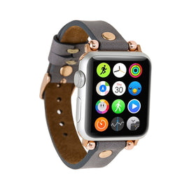 Ferro Strap - Full Grain Leather Band for Apple Watch 38mm / 40mm - GRAY