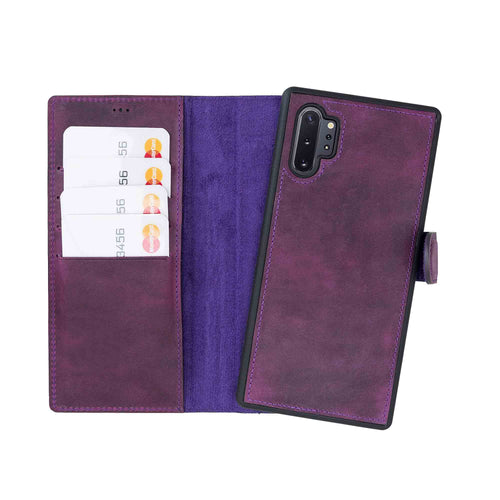 Magic Magnetic Detachable Leather Wallet Case for Samsung Galaxy Note 10 Plus / Note 10 Plus 5G - PURPLE - saracleather