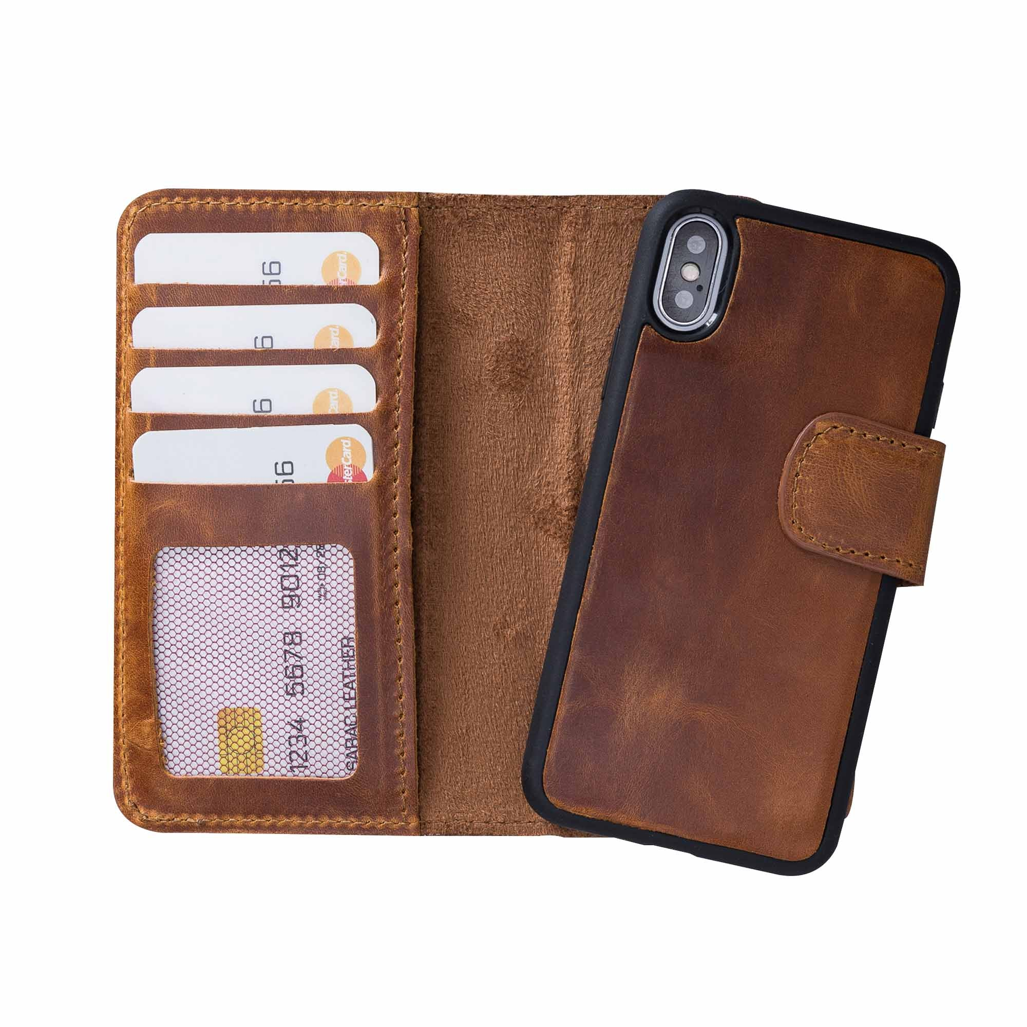 "Liluri Magnetic Detachable Leather Wallet Case for iPhone X / XS (5.8"") - TAN"