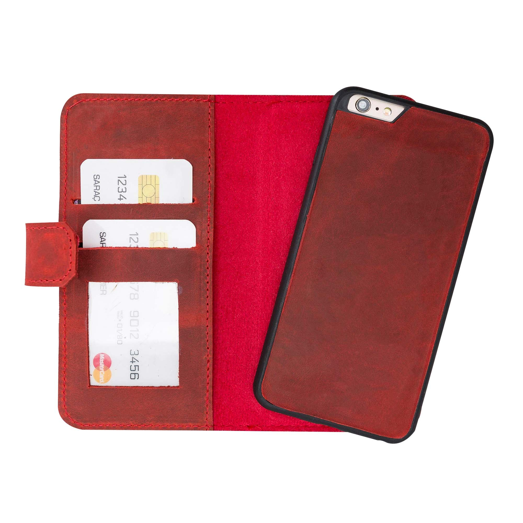 Liluri Magnetic Detachable Leather Wallet Case for iPhone 6 / 6S - RED - saracleather