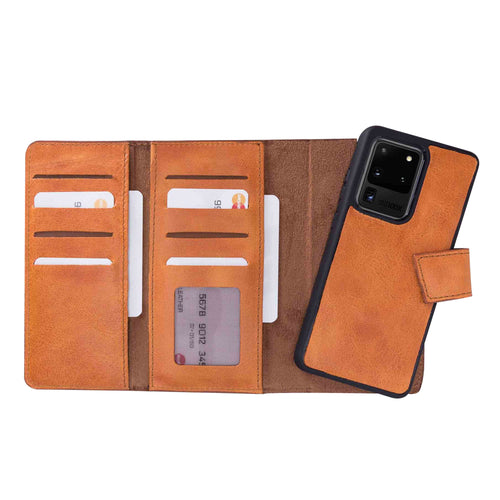 "Santa Magnetic Detachable Leather Tri-Fold Wallet Case for Samsung Galaxy S20 Ultra (6.9"") - TAN - saracleather"