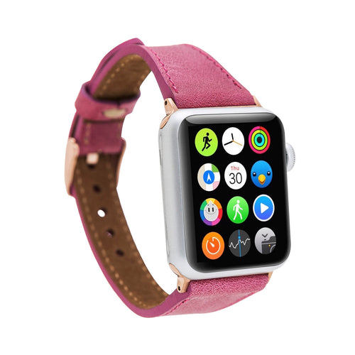 Slim Strap - Full Grain Leather Band for Apple Watch 38mm / 40mm - FUCHSIA - saracleather