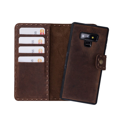 Adel Magnetic Detachable Leather Wallet Case for Samsung Galaxy Note 9 - BROWN