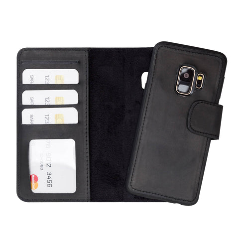 Liluri Magnetic Detachable Leather Wallet Case for Samsung Galaxy S9 - BLACK - saracleather