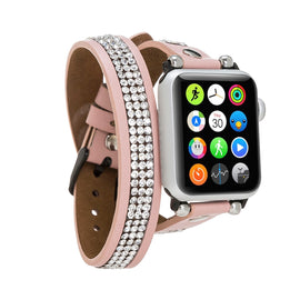 Ferro Double Tour Strap: Full Grain Leather Band for Apple Watch 38mm / 40mm - PINK - saracleather