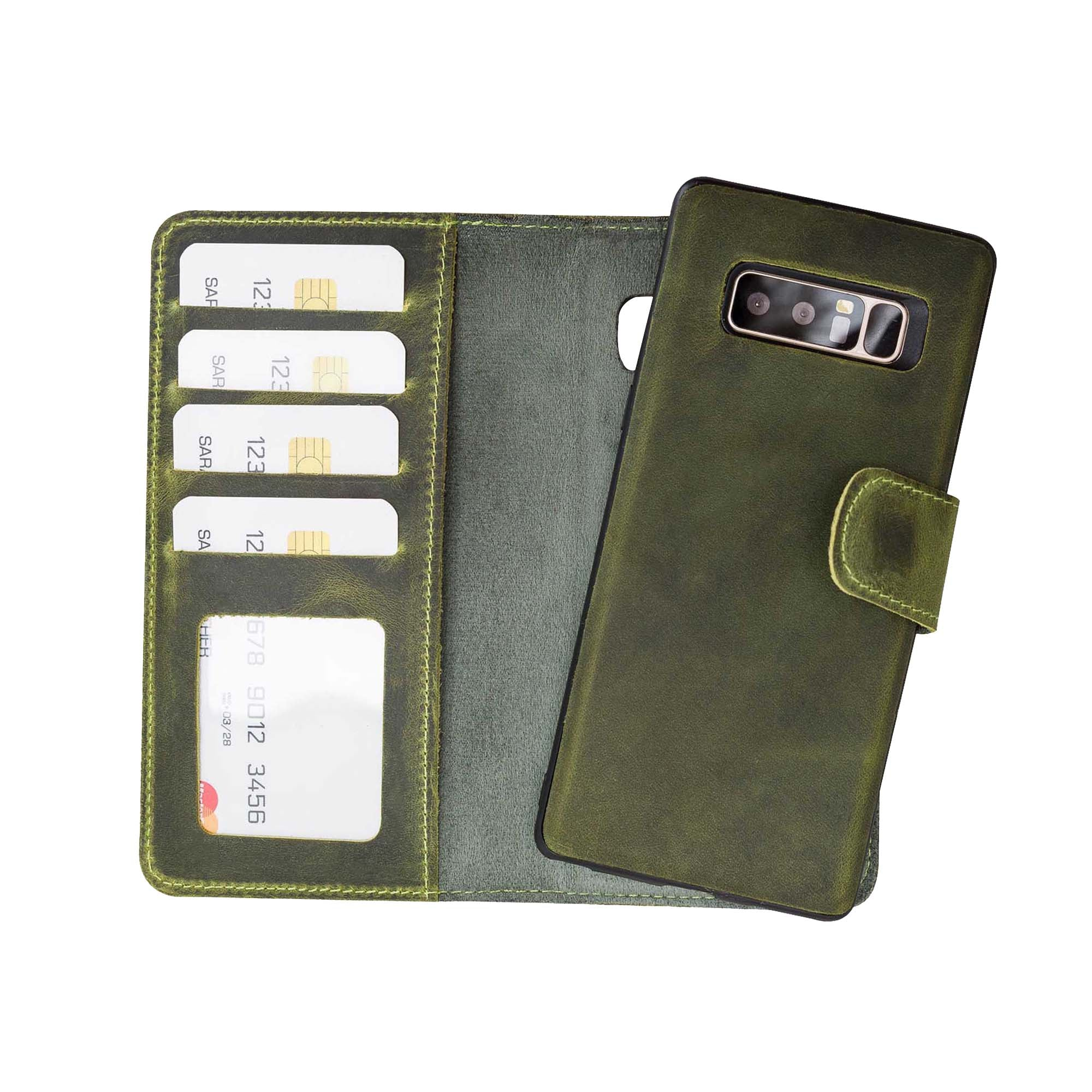 Liluri Magnetic Detachable Leather Wallet Case for Samsung Galaxy Note 8 - GREEN - saracleather