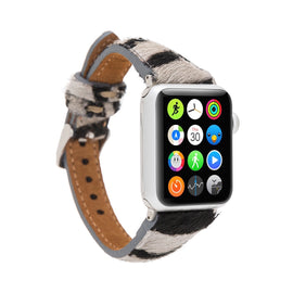 Slim Strap - Full Grain Leather Band for Apple Watch 38mm / 40mm - FURRY ZEBRA PATTERNED - saracleather