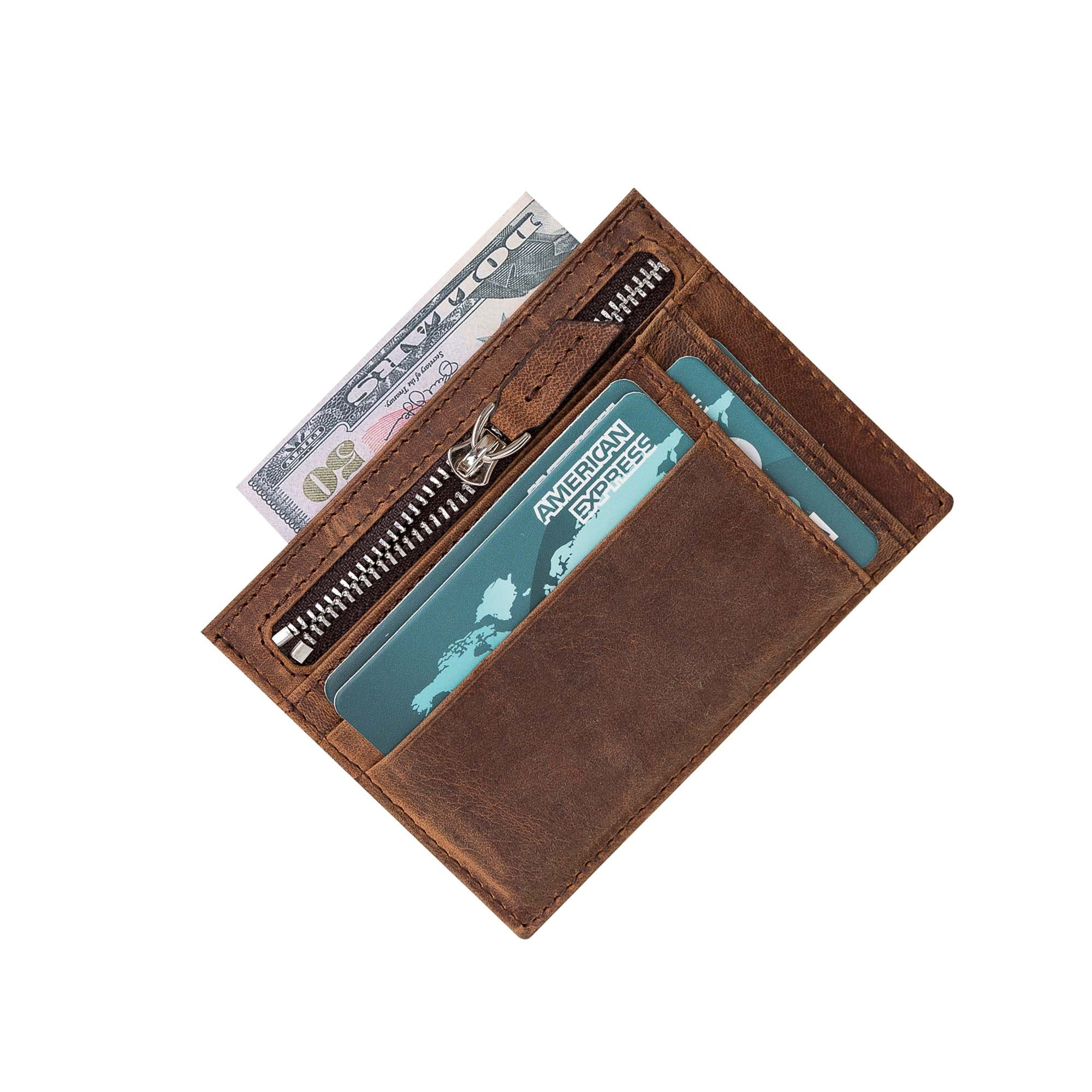Slim Zipper Leather Wallet - BROWN