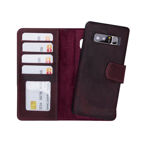 Liluri Magnetic Detachable Leather Wallet Case for Samsung Galaxy Note 8 - RED - saracleather