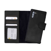 Liluri Magnetic Detachable Leather Wallet Case for Samsung Galaxy Note 10 - BLACK - saracleather