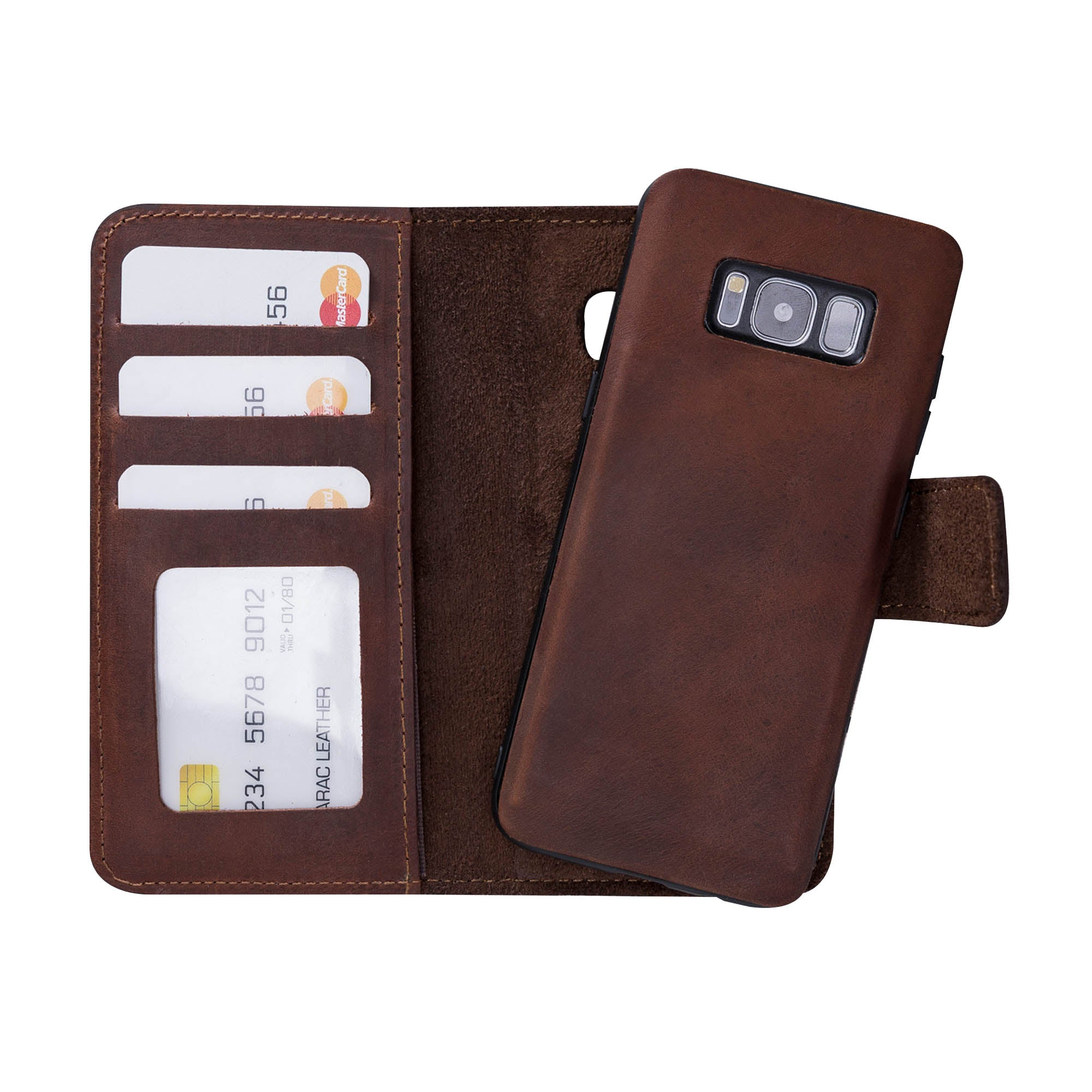 Liluri Magnetic Detachable Leather Wallet Case for Samsung Galaxy S8 - BROWN - saracleather