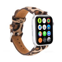 Full Grain Leather Band for Apple Watch 38mm / 40mm - FURRY LEOPARD PATTERNED - saracleather