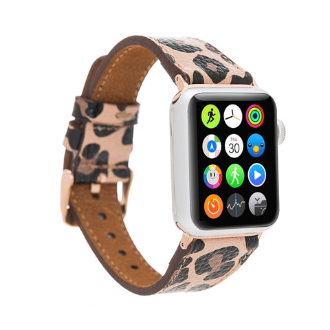 Full Grain Leather Band for Apple Watch 38mm / 40mm - LEOPARD PATTERNED