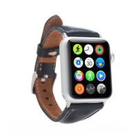 Slim Strap - Full Grain Leather Band for Apple Watch 38mm / 40mm - BLACK - saracleather