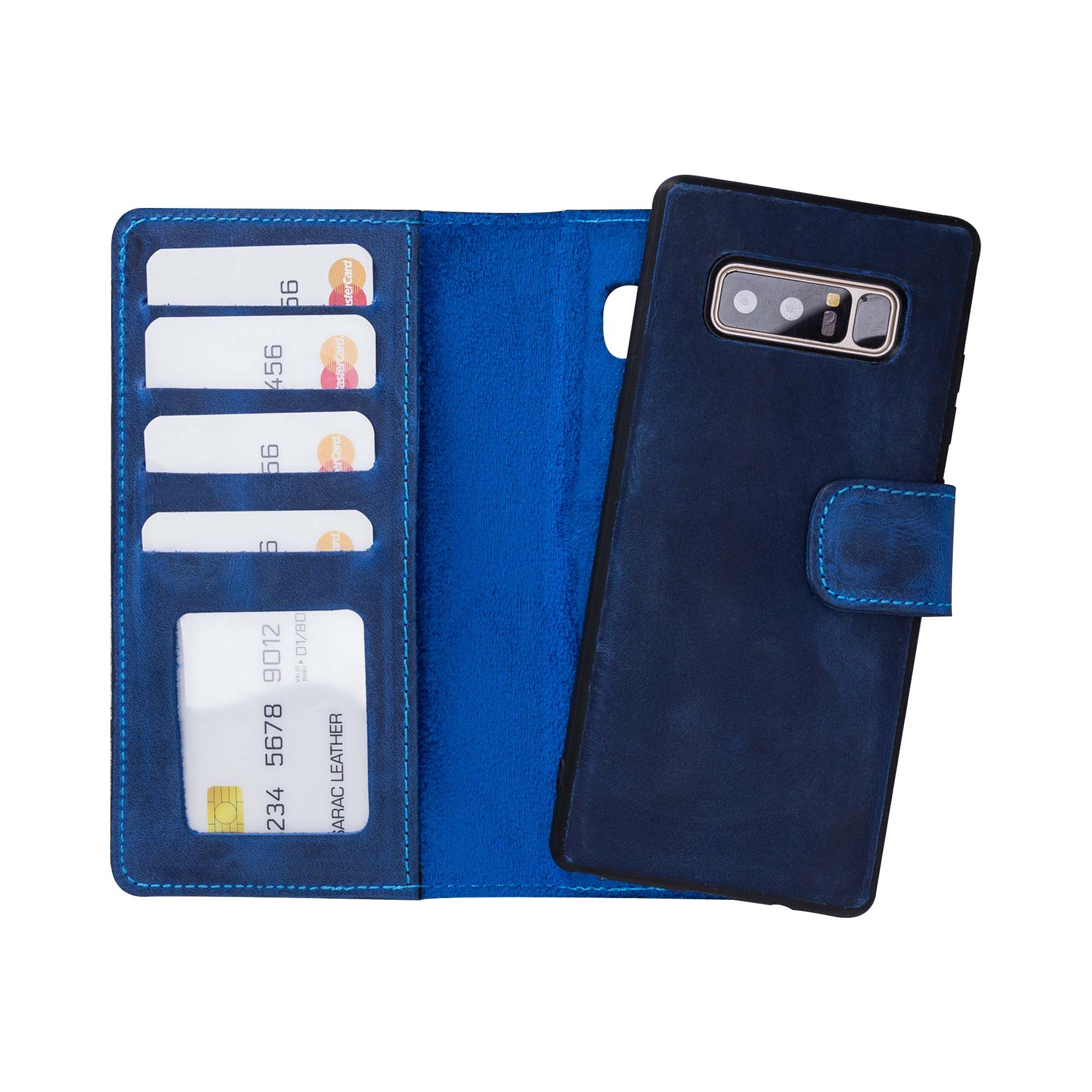 Liluri Magnetic Detachable Leather Wallet Case for Samsung Galaxy Note 8 - BLUE