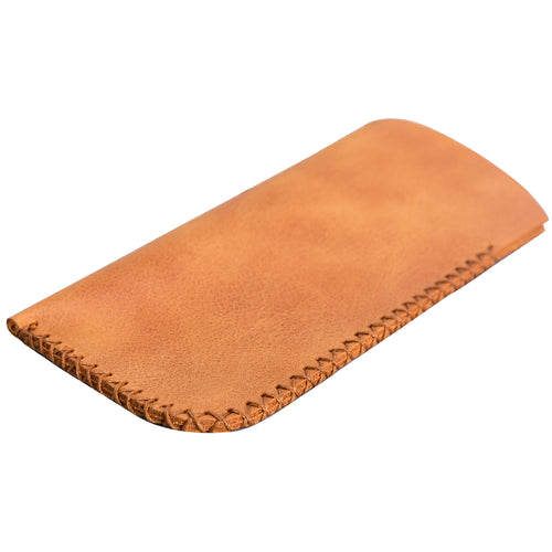 Leather Case For Glasses - TAN - saracleather