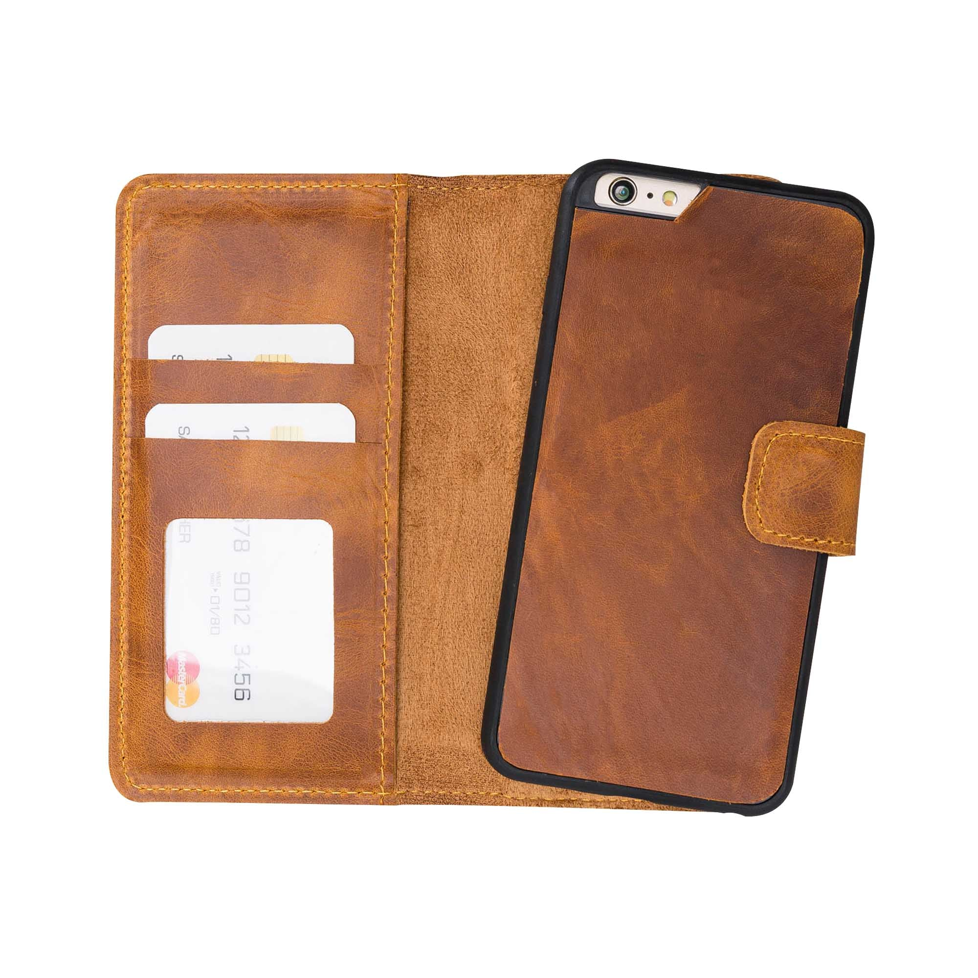 Liluri Magnetic Detachable Leather Wallet Case for iPhone 6 / 6S - TAN