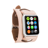 Cuff Slim Strap: Full Grain Leather Band for Apple Watch 38mm / 40mm - PINK - saracleather