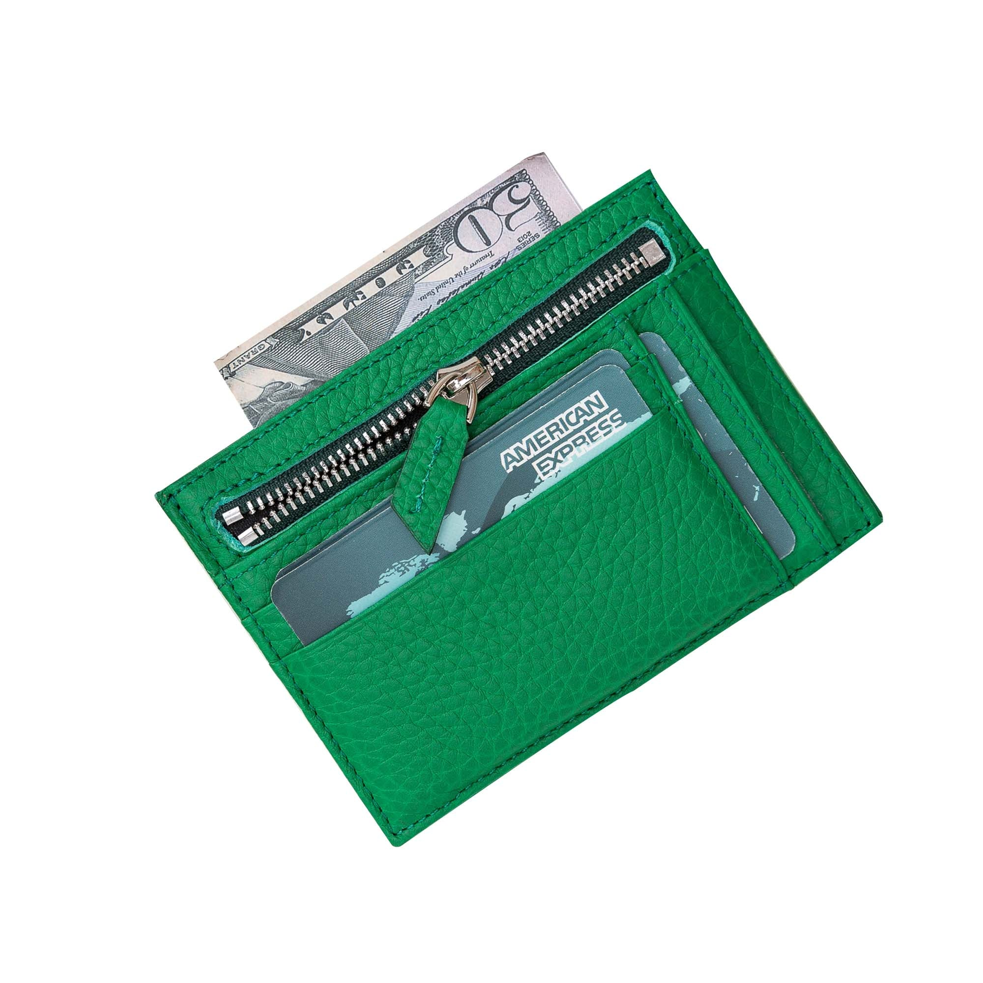 Slim Zipper Leather Wallet - GREEN