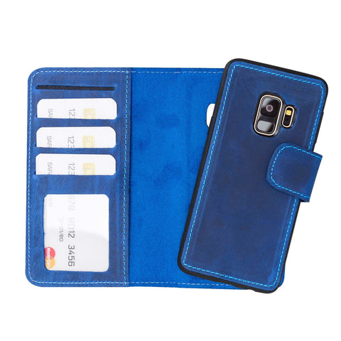 Liluri Magnetic Detachable Leather Wallet Case for Samsung Galaxy S9 - BLUE - saracleather
