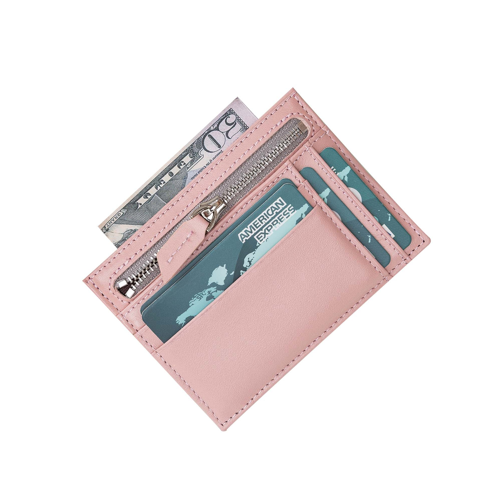Slim Zipper Leather Wallet - PINK