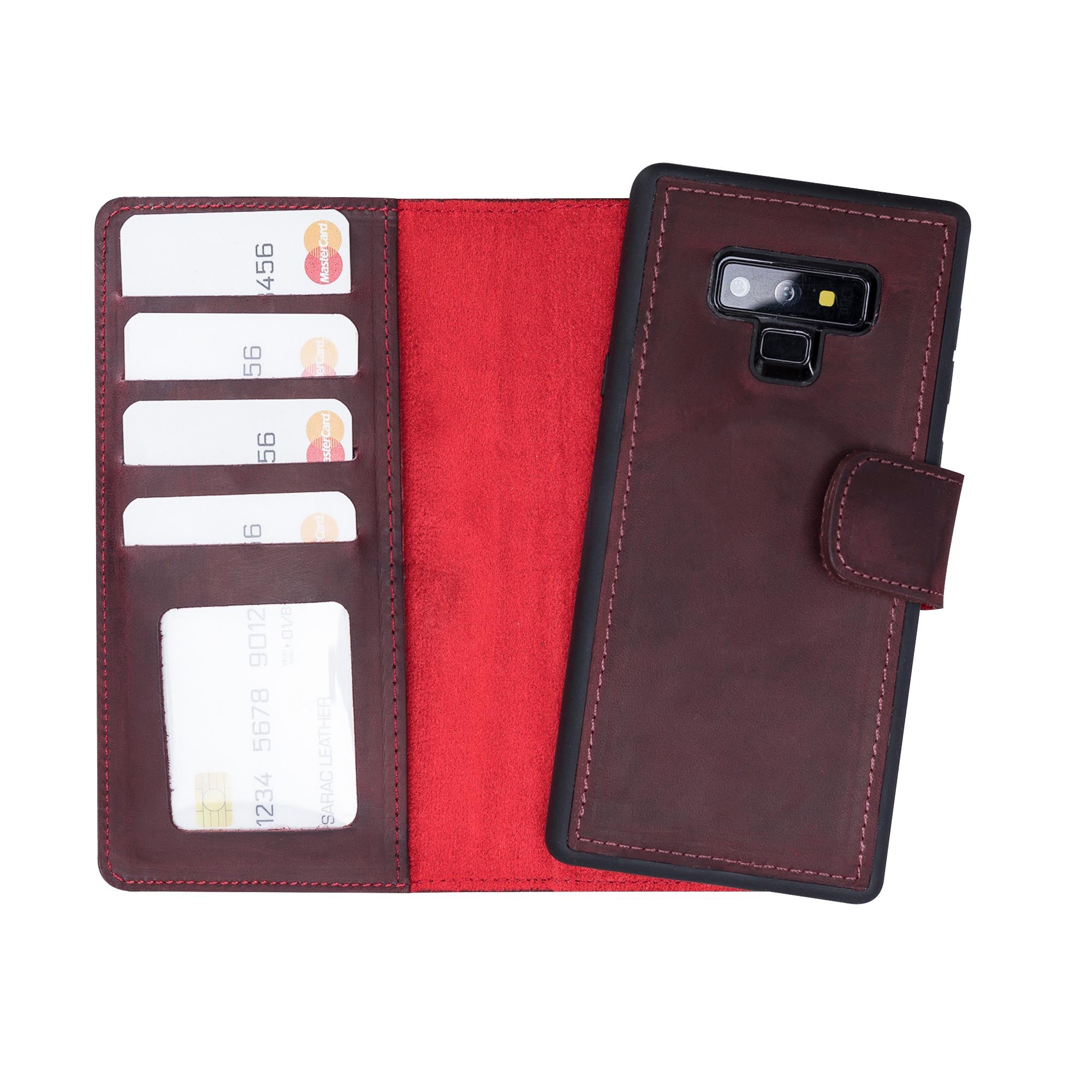 Liluri Magnetic Detachable Leather Wallet Case for Samsung Galaxy Note 9 - RED - saracleather