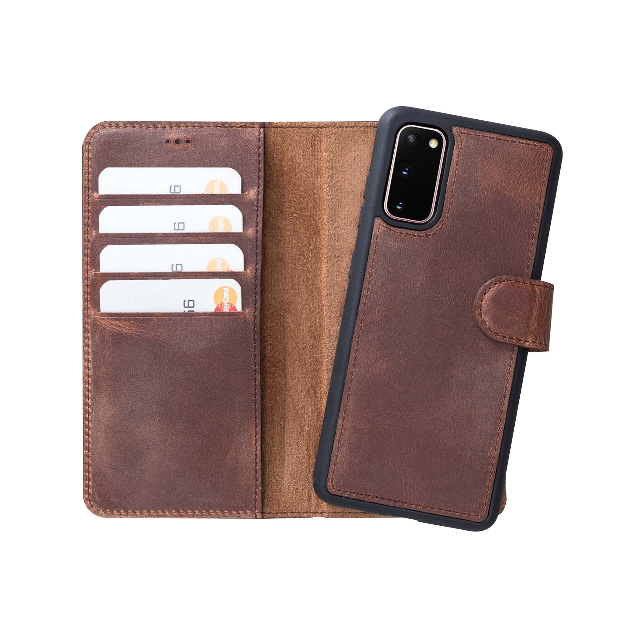 "Magic Magnetic Detachable Leather Wallet Case for Samsung Galaxy S20 (6.2"") - BROWN - saracleather"