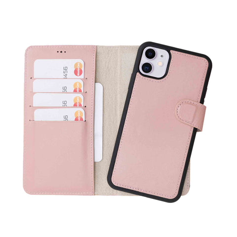 "Magic Magnetic Detachable Leather Wallet Case for iPhone 11 (6.1"") - PINK - saracleather"