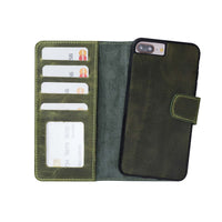 Liluri Magnetic Detachable Leather Wallet Case for iPhone 8 Plus / 7 Plus - GREEN - saracleather