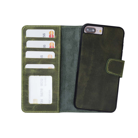 Liluri Magnetic Detachable Leather Wallet Case for iPhone 8 Plus / 7 Plus - GREEN